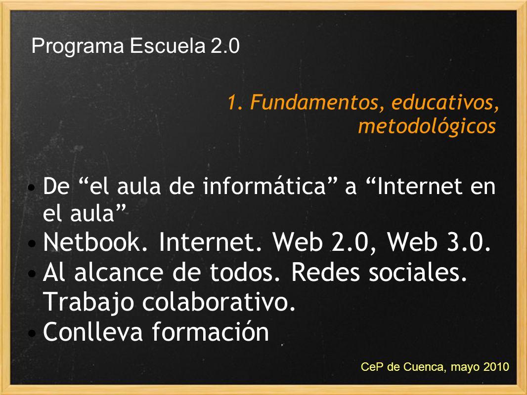 Programa Escuela 2.0 De el aula de informática a Internet en el aula Netbook. Internet. Web 2.0, Web 3.0. Al alcance de todos. Redes sociales. Trabajo