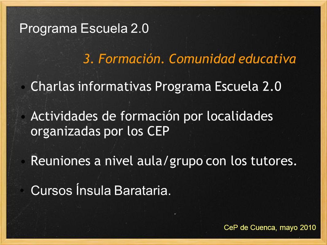 Charlas informativas Programa Escuela 2.0 Actividades de formación por localidades organizadas por los CEP Reuniones a nivel aula/grupo con los tutore