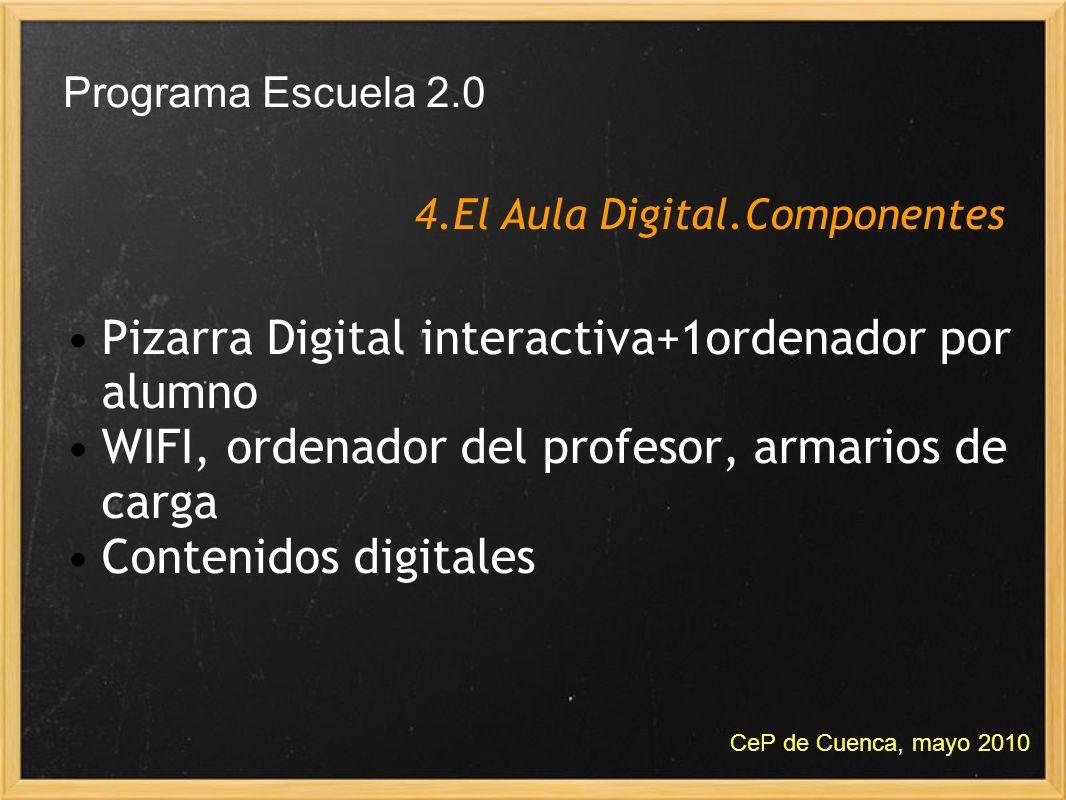 Pizarra Digital interactiva+1ordenador por alumno WIFI, ordenador del profesor, armarios de carga Contenidos digitales 4.El Aula Digital.Componentes P