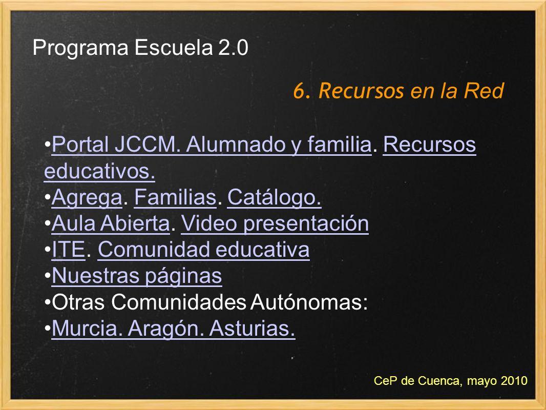 6. Recursos en la Red Programa Escuela 2.0 CeP de Cuenca, mayo 2010 Portal JCCM. Alumnado y familia. Recursos educativos.Portal JCCM. Alumnado y famil