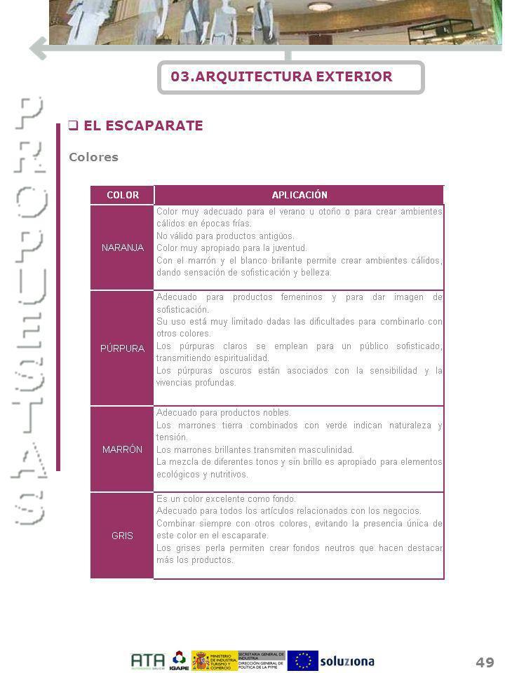 49 03.ARQUITECTURA EXTERIOR q EL ESCAPARATE Colores