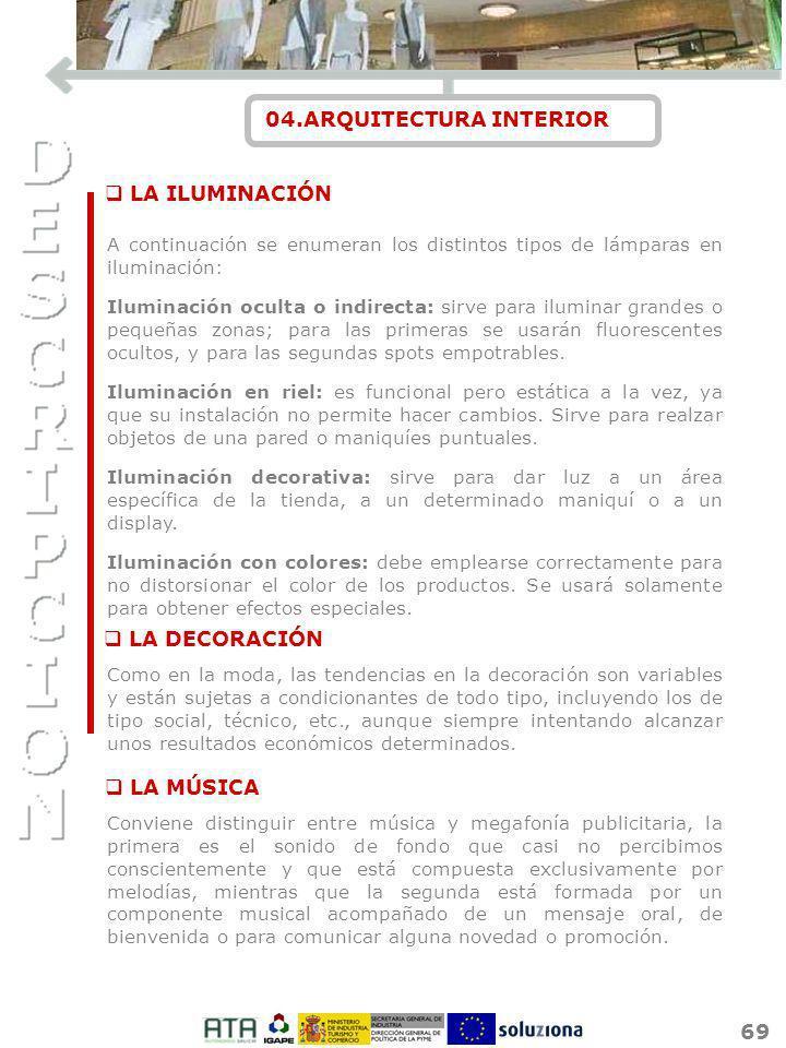 69 04.ARQUITECTURA INTERIOR A continuación se enumeran los distintos tipos de lámparas en iluminación: Iluminación oculta o indirecta: sirve para ilum