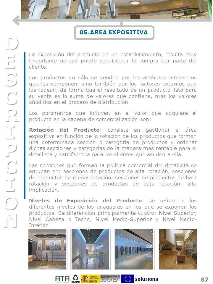 87 05.AREA EXPOSITIVA La exposición del producto en un establecimiento, resulta muy importante porque puede condicionar la compra por parte del client