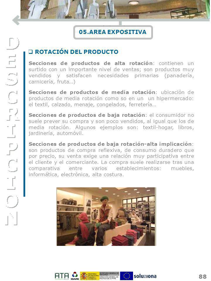 88 05.AREA EXPOSITIVA Secciones de productos de alta rotación: contienen un surtido con un importante nivel de ventas; son productos muy vendidos y sa