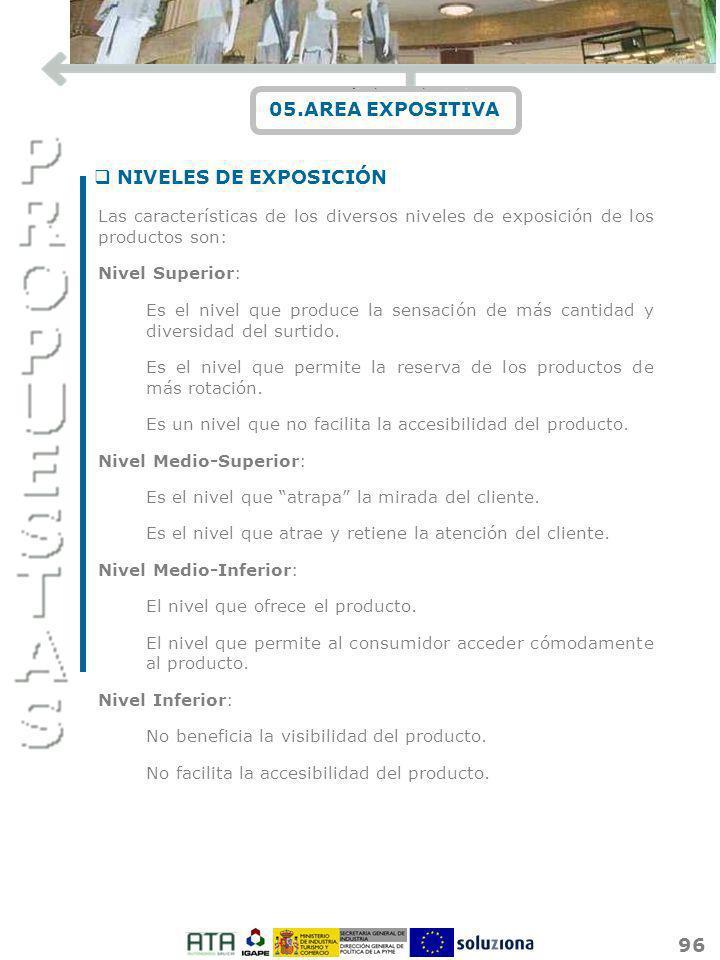 96 05.AREA EXPOSITIVA Las características de los diversos niveles de exposición de los productos son: Nivel Superior: Es el nivel que produce la sensa
