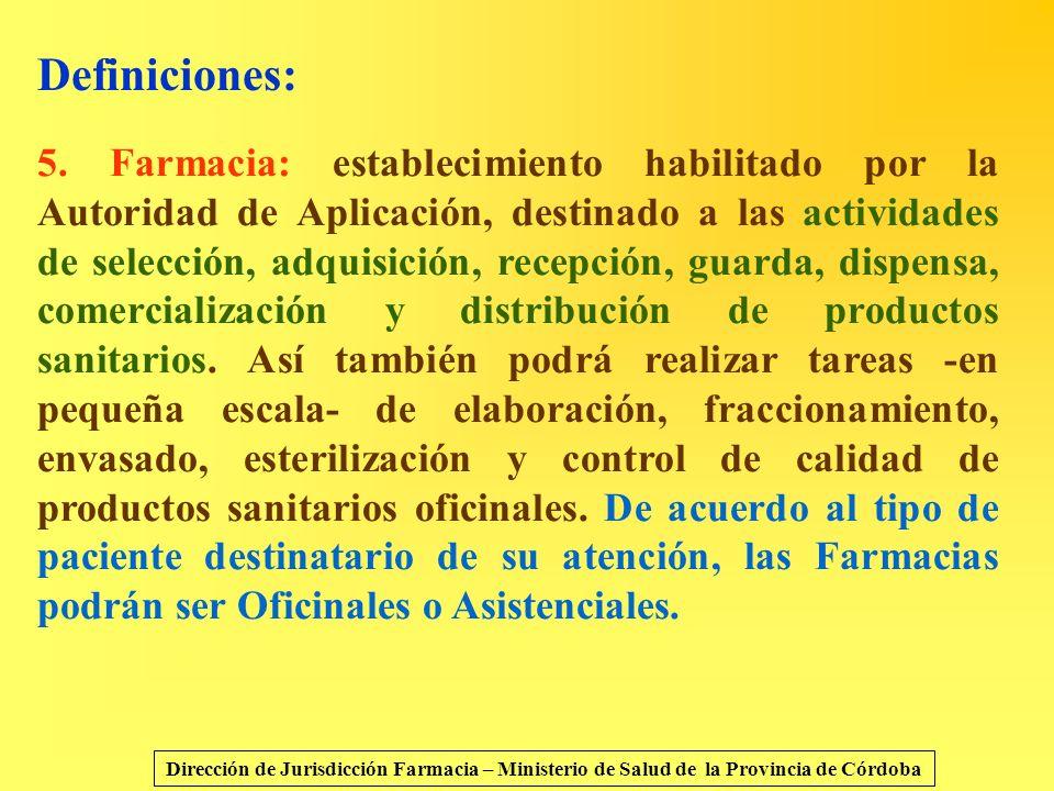 Definiciones: 5. Farmacia: establecimiento habilitado por la Autoridad de Aplicación, destinado a las actividades de selección, adquisición, recepción