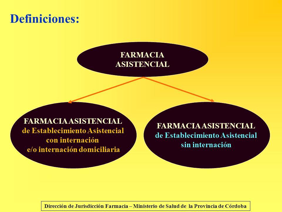 Definiciones: Dirección de Jurisdicción Farmacia – Ministerio de Salud de la Provincia de Córdoba FARMACIA ASISTENCIAL FARMACIA ASISTENCIAL de Estable