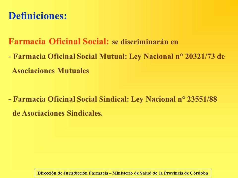 Definiciones: Farmacia Oficinal Social: se discriminarán en - Farmacia Oficinal Social Mutual: Ley Nacional n° 20321/73 de Asociaciones Mutuales - Far