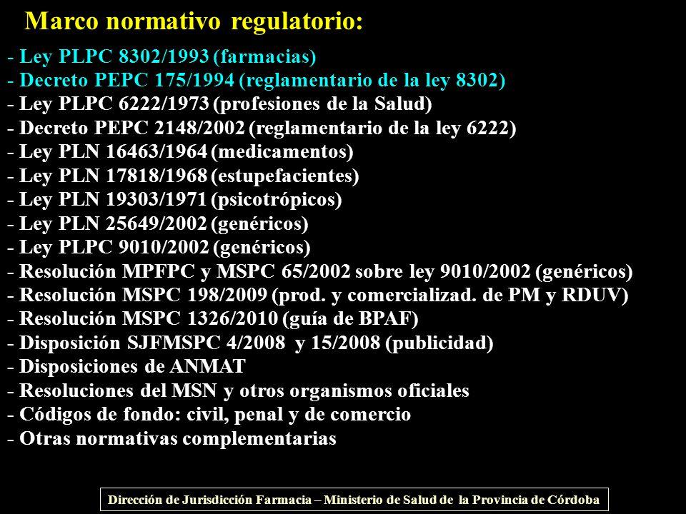 - Ley PLPC 8302/1993 (farmacias) - Decreto PEPC 175/1994 (reglamentario de la ley 8302) - Ley PLPC 6222/1973 (profesiones de la Salud) - Decreto PEPC