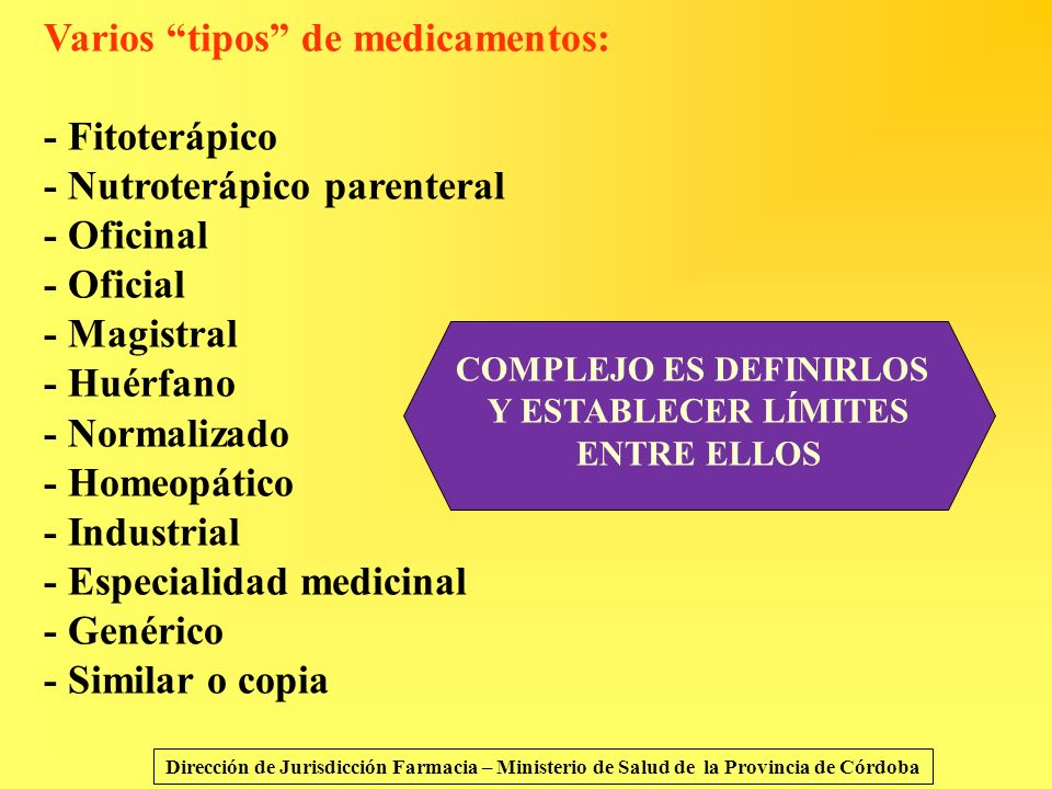 Varios tipos de medicamentos: - Fitoterápico - Nutroterápico parenteral - Oficinal - Oficial - Magistral - Huérfano - Normalizado - Homeopático - Indu