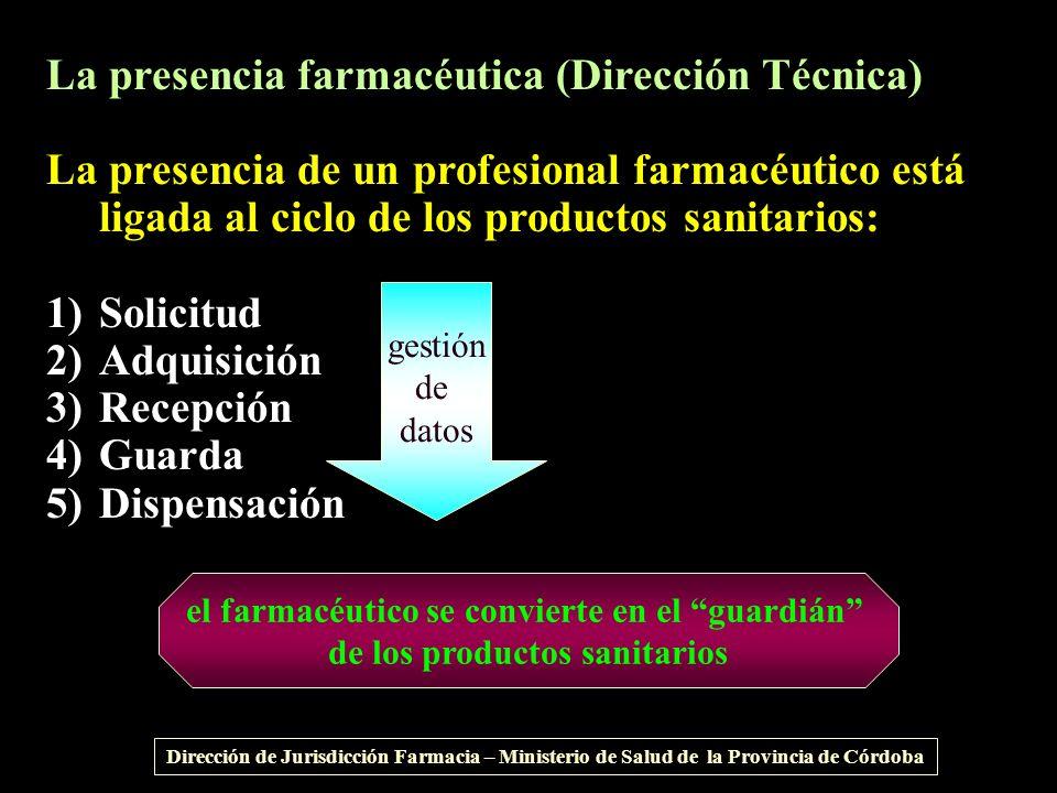 La presencia farmacéutica (Dirección Técnica) La presencia de un profesional farmacéutico está ligada al ciclo de los productos sanitarios: 1)Solicitu