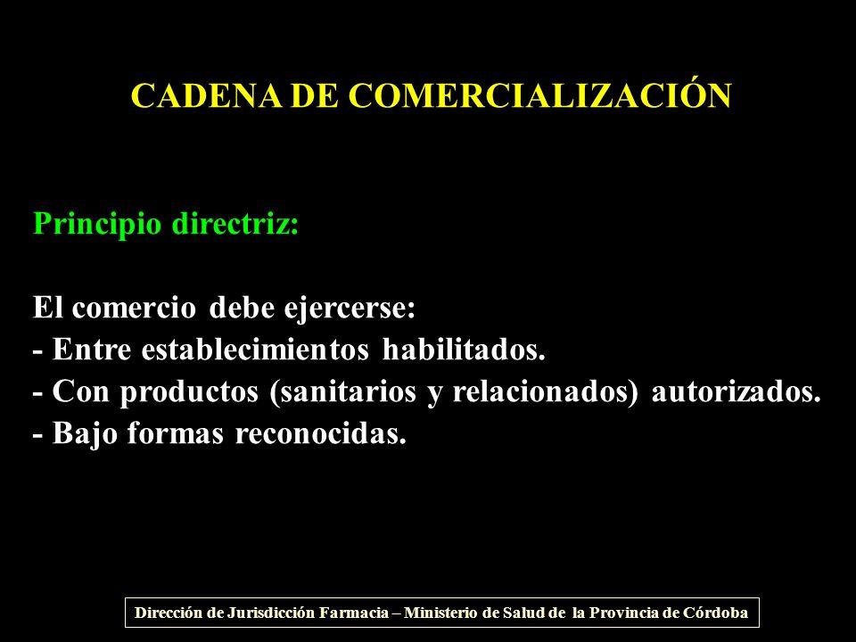 CADENA DE COMERCIALIZACIÓN Principio directriz: El comercio debe ejercerse: - Entre establecimientos habilitados. - Con productos (sanitarios y relaci