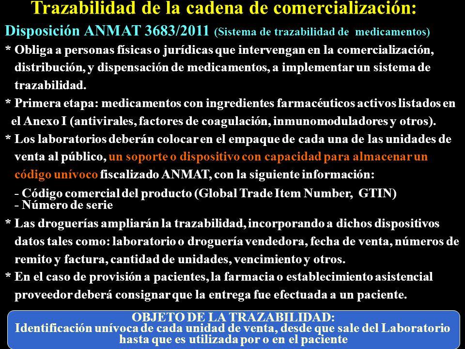 Trazabilidad de la cadena de comercialización: Disposición ANMAT 3683/2011 (Sistema de trazabilidad de medicamentos) * Obliga a personas físicas o jur