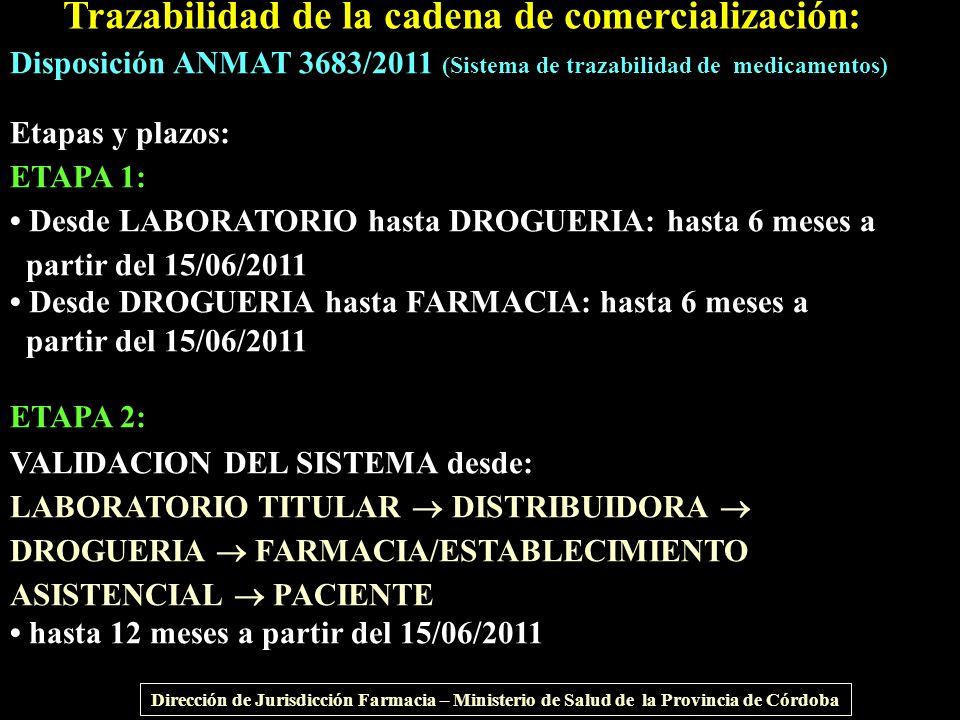 Trazabilidad de la cadena de comercialización: Disposición ANMAT 3683/2011 (Sistema de trazabilidad de medicamentos) Etapas y plazos: ETAPA 1: Desde L