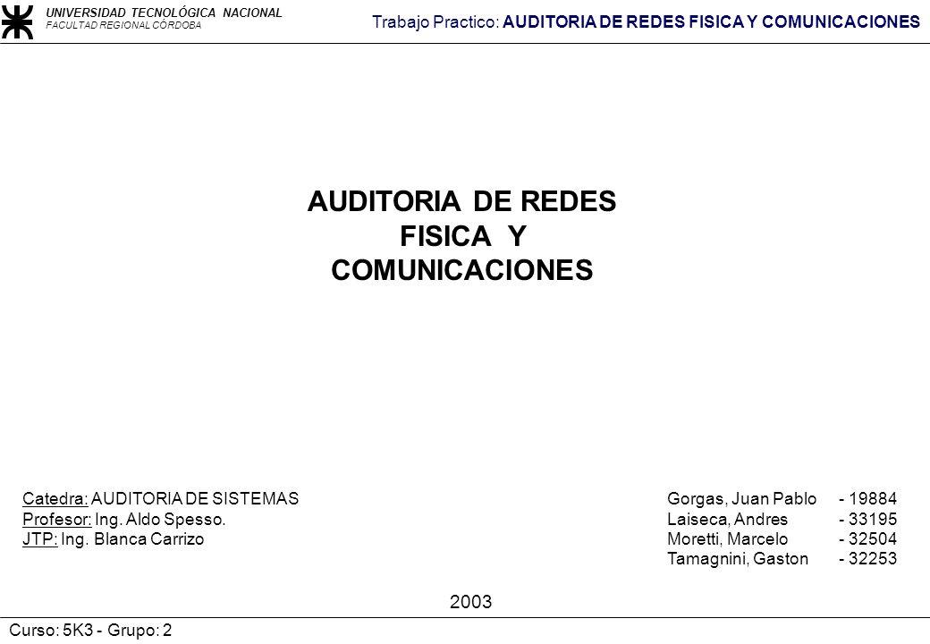 UNIVERSIDAD TECNOLÓGICA NACIONAL FACULTAD REGIONAL CÓRDOBA Trabajo Practico: AUDITORIA DE REDES FISICA Y COMUNICACIONES Curso: 5K3 - Grupo: 2 AUDITORI