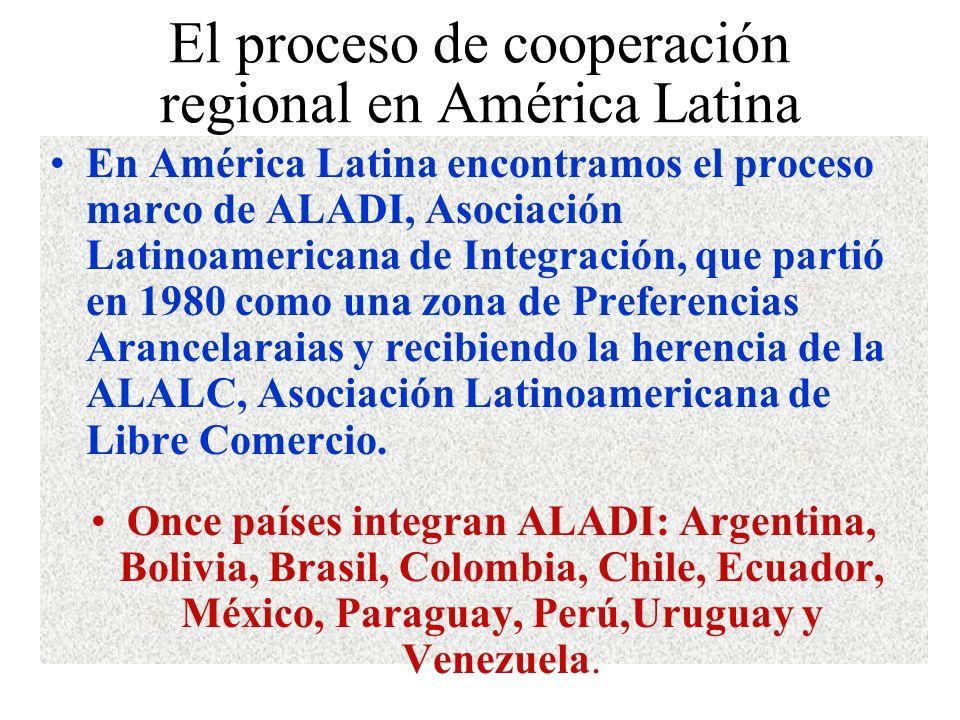 El proceso de cooperación regional en América Latina En América Latina encontramos el proceso marco de ALADI, Asociación Latinoamericana de Integración, que partió en 1980 como una zona de Preferencias Arancelaraias y recibiendo la herencia de la ALALC, Asociación Latinoamericana de Libre Comercio.