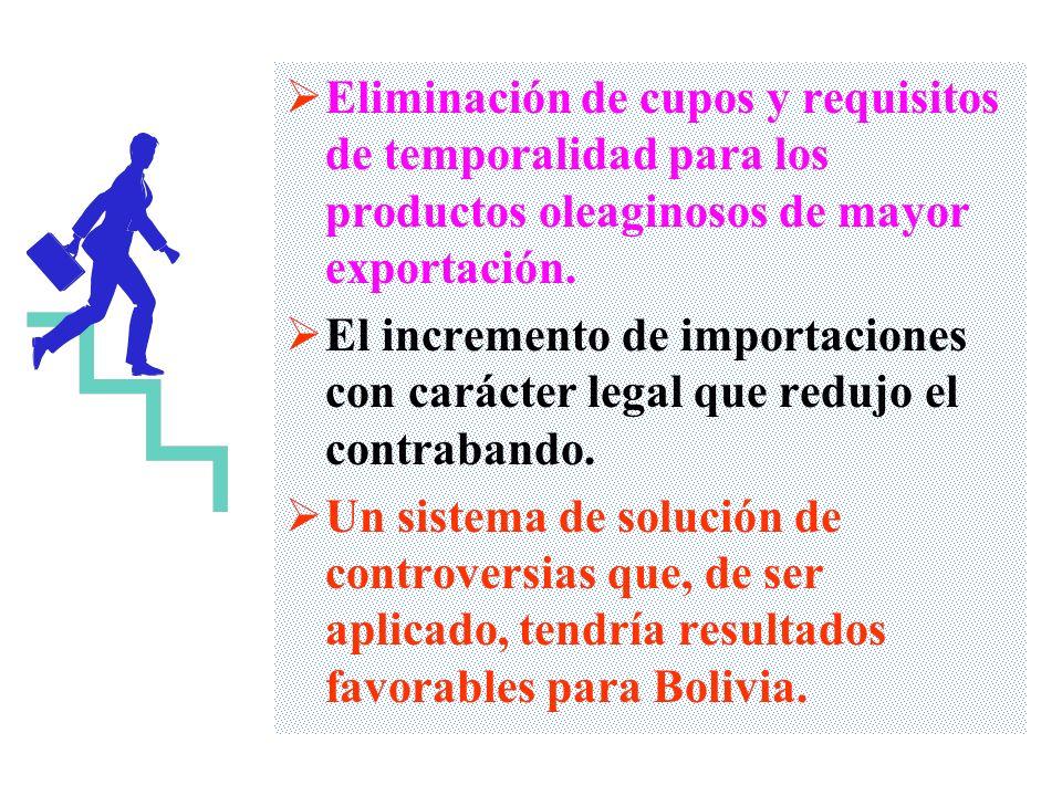 La liberalización de aranceles para las exportaciones bolivianas de una parte importante de productos No Tradicionales e incluso mineros que forman pa