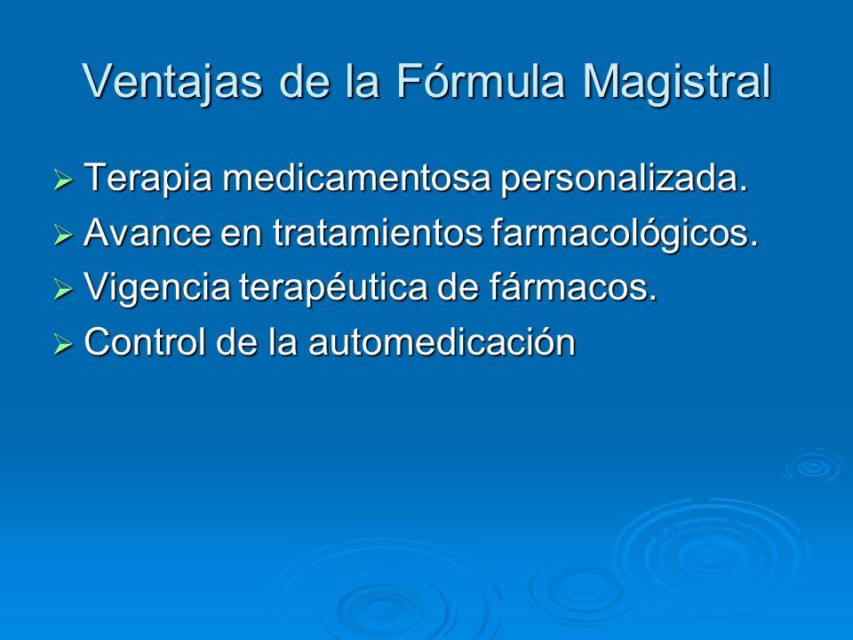 Ventajas de la Fórmula Magistral Asociación de fármacos no disponibles en el mercado farmacéutico.