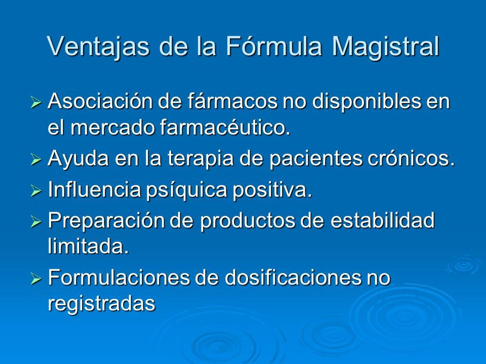 Ventajas de la Fórmula Magistral Adecuación de las formas farmacéuticas Adecuación de las formas farmacéuticas Reactualización Terapéutica Reactualización Terapéutica