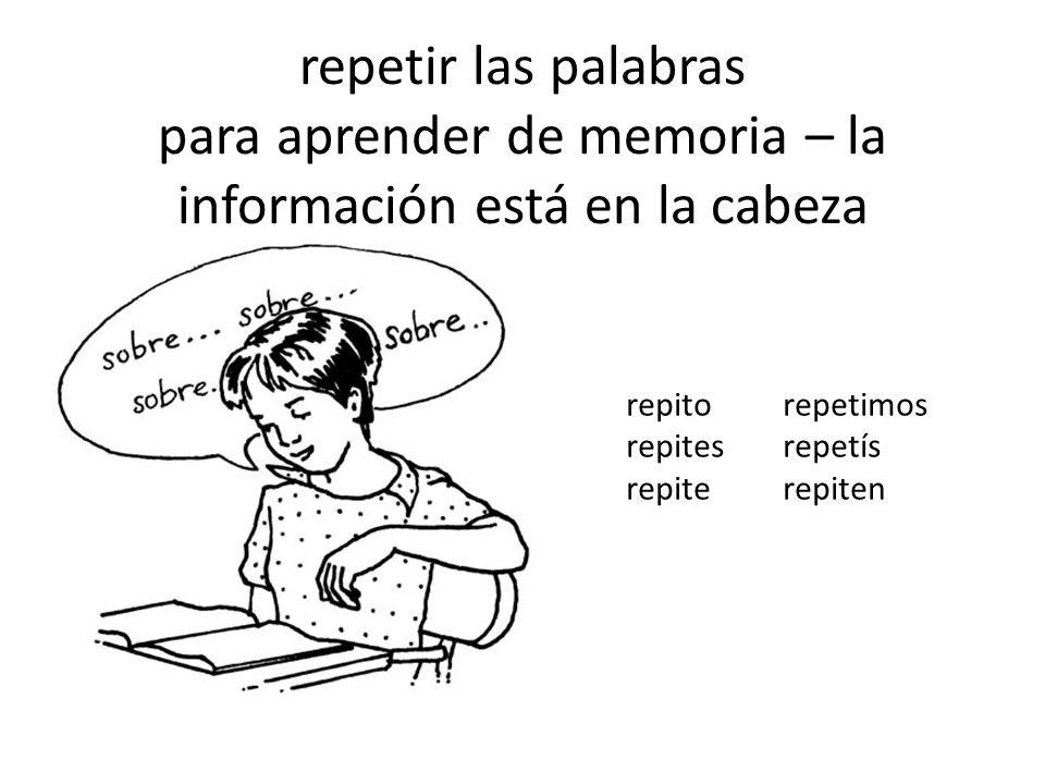 repetir las palabras para aprender de memoria – la información está en la cabeza repitorepetimos repitesrepetís repiterepiten