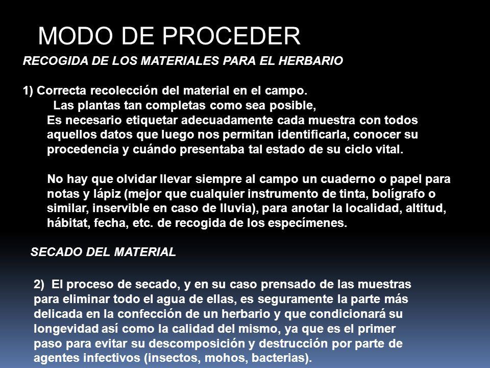 RECOGIDA DE LOS MATERIALES PARA EL HERBARIO 1) Correcta recolección del material en el campo. Las plantas tan completas como sea posible, Es necesario