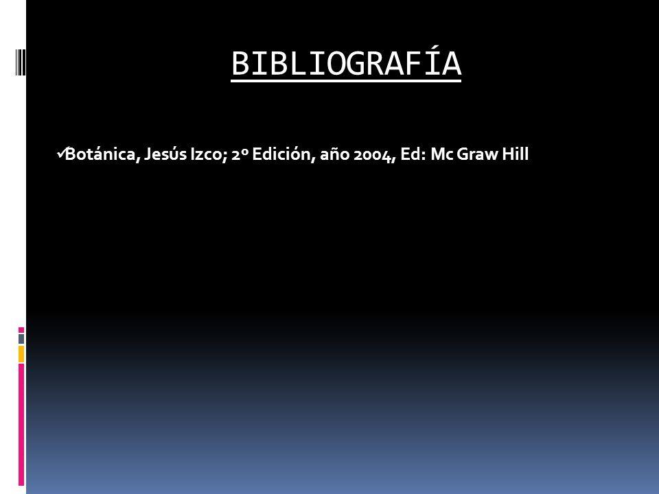 BIBLIOGRAFÍA Botánica, Jesús Izco; 2º Edición, año 2004, Ed: Mc Graw Hill