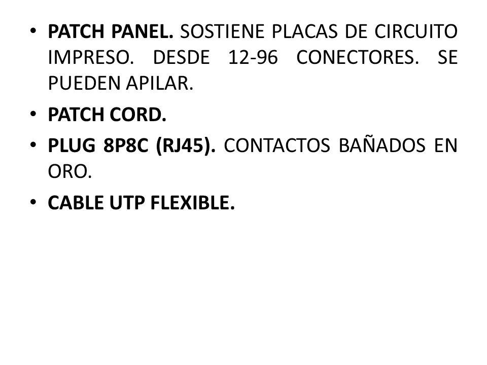 PATCH PANEL. SOSTIENE PLACAS DE CIRCUITO IMPRESO. DESDE 12-96 CONECTORES. SE PUEDEN APILAR. PATCH CORD. PLUG 8P8C (RJ45). CONTACTOS BAÑADOS EN ORO. CA