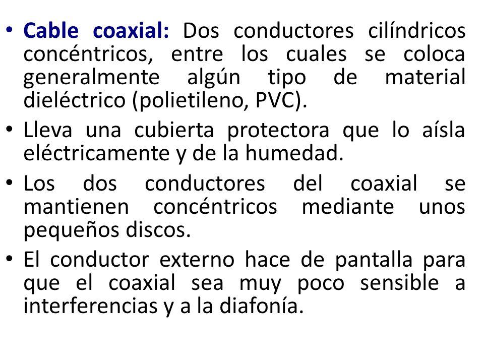 Cable coaxial: Dos conductores cilíndricos concéntricos, entre los cuales se coloca generalmente algún tipo de material dieléctrico (polietileno, PVC)