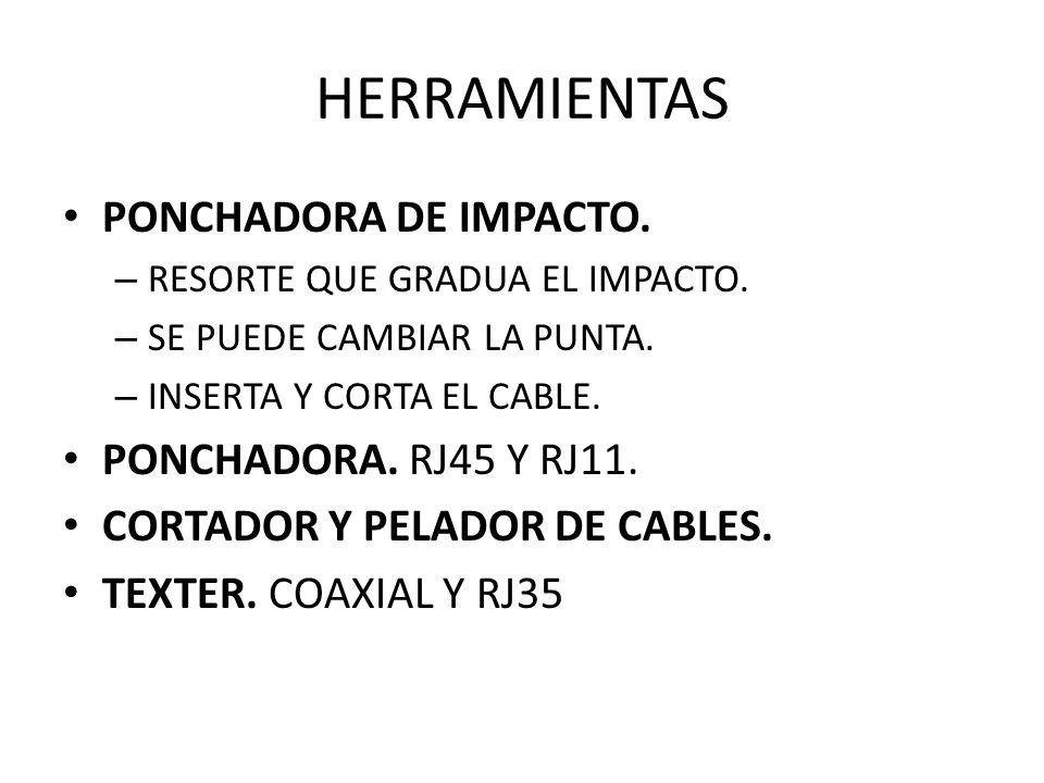 HERRAMIENTAS PONCHADORA DE IMPACTO. – RESORTE QUE GRADUA EL IMPACTO. – SE PUEDE CAMBIAR LA PUNTA. – INSERTA Y CORTA EL CABLE. PONCHADORA. RJ45 Y RJ11.
