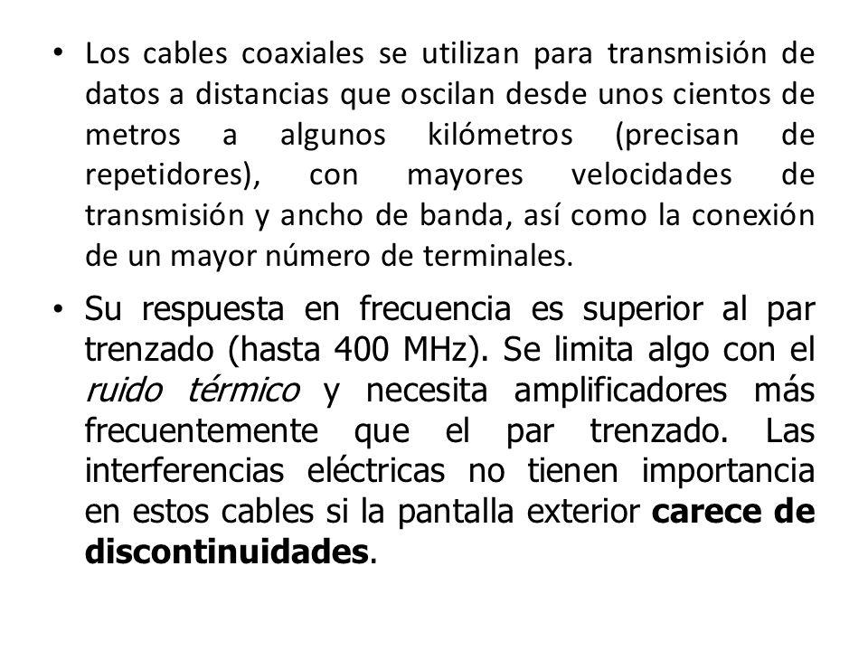 Los cables coaxiales se utilizan para transmisión de datos a distancias que oscilan desde unos cientos de metros a algunos kilómetros (precisan de rep