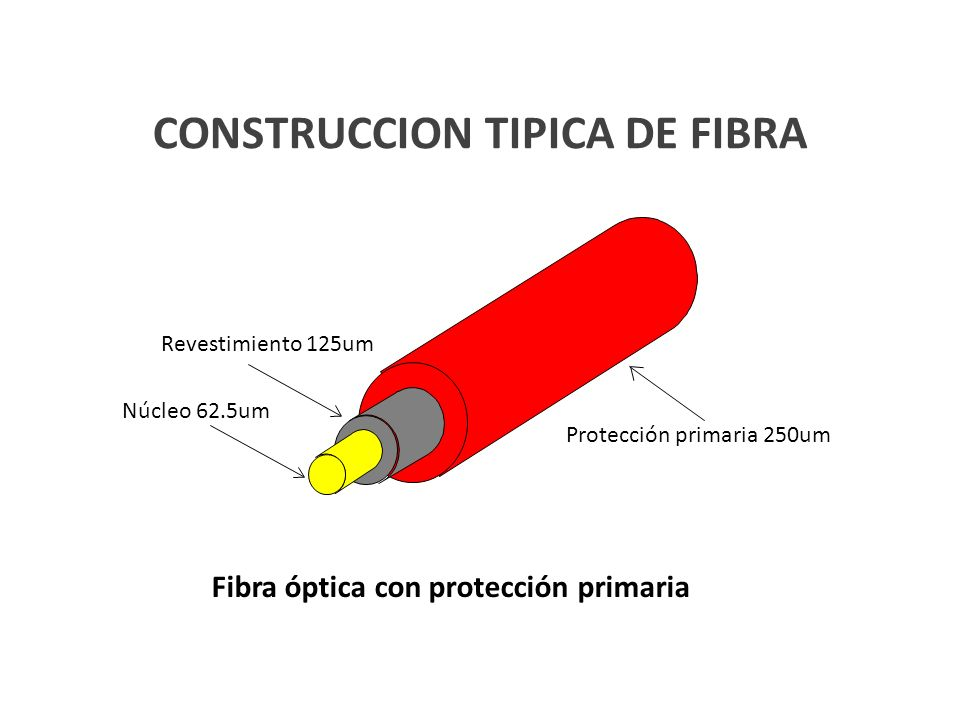CONSTRUCCION TIPICA DE FIBRA Núcleo 62.5um Revestimiento 125um Protección primaria 250um Fibra óptica con protección primaria
