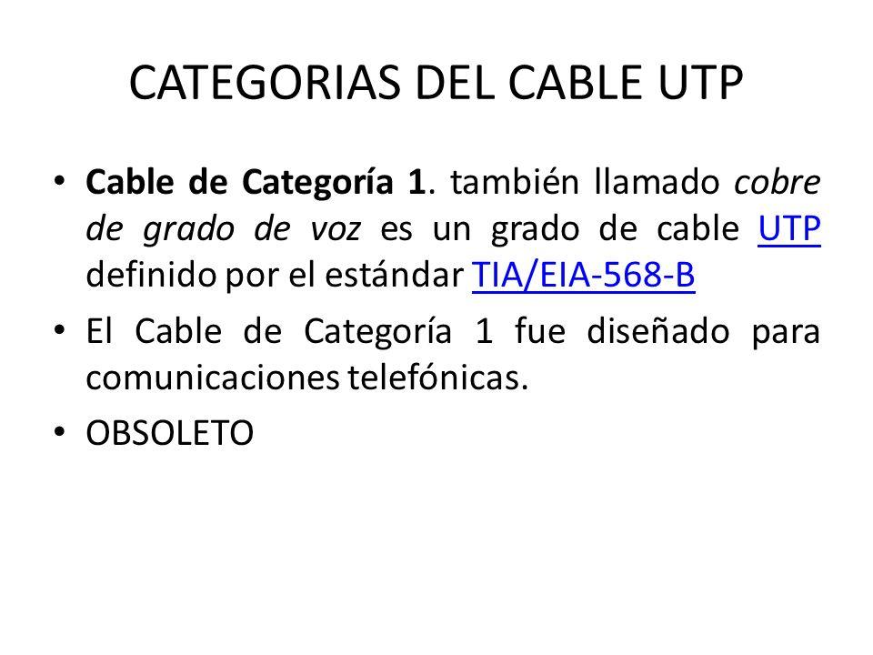 CATEGORIAS DEL CABLE UTP Cable de Categoría 1. también llamado cobre de grado de voz es un grado de cable UTP definido por el estándar TIA/EIA-568-BUT