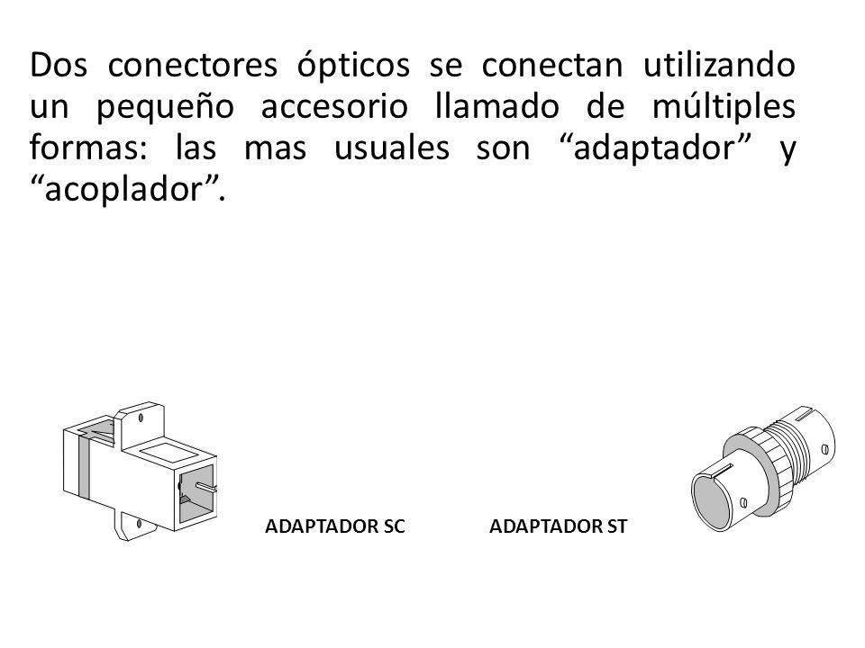 Dos conectores ópticos se conectan utilizando un pequeño accesorio llamado de múltiples formas: las mas usuales son adaptador y acoplador. ADAPTADOR S