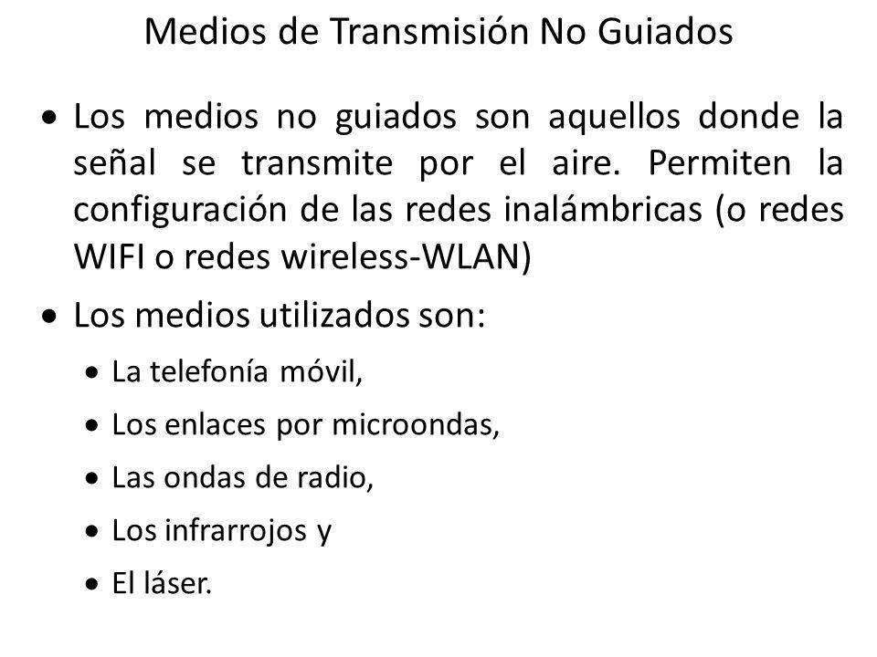 Medios de Transmisión No Guiados Los medios no guiados son aquellos donde la señal se transmite por el aire. Permiten la configuración de las redes in