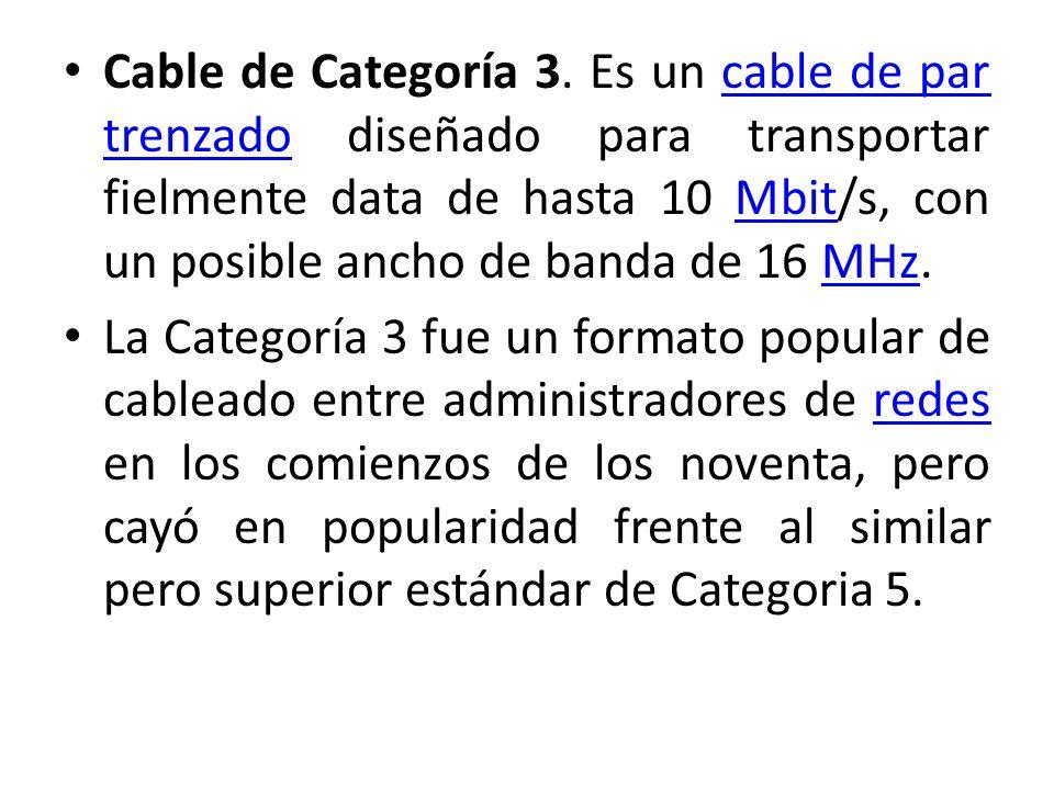 Cable de Categoría 3. Es un cable de par trenzado diseñado para transportar fielmente data de hasta 10 Mbit/s, con un posible ancho de banda de 16 MHz