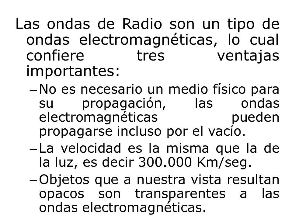 Las ondas de Radio son un tipo de ondas electromagnéticas, lo cual confiere tres ventajas importantes: – No es necesario un medio físico para su propa