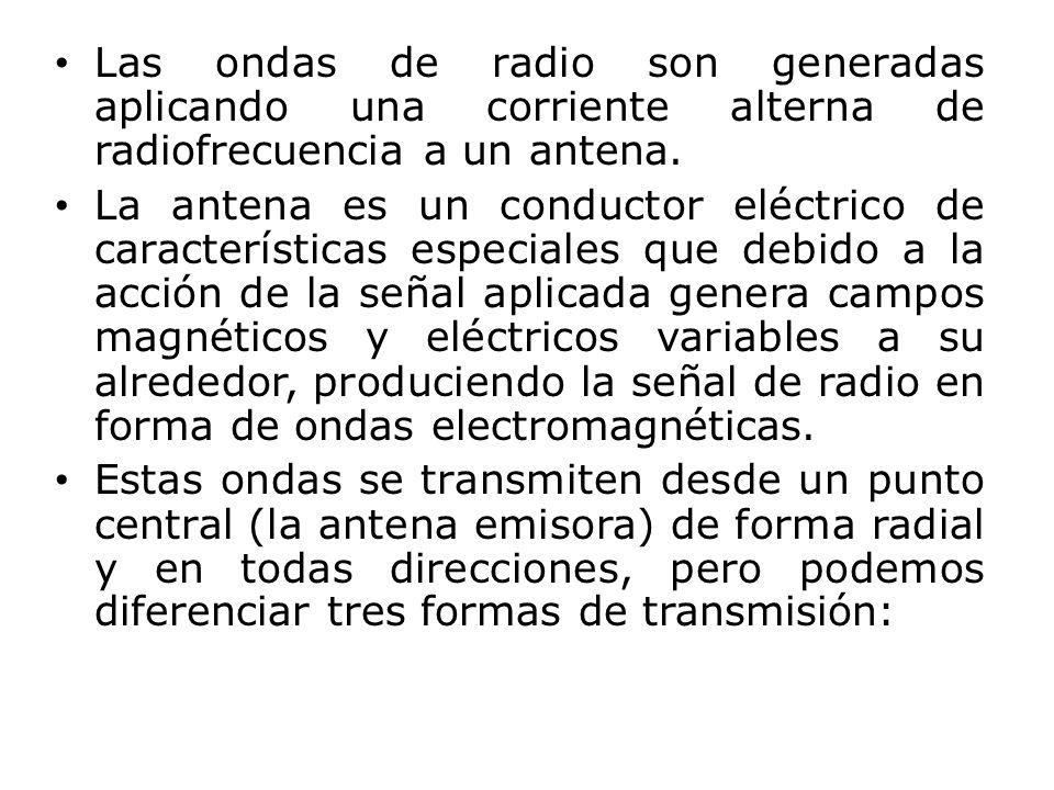 Las ondas de radio son generadas aplicando una corriente alterna de radiofrecuencia a un antena. La antena es un conductor eléctrico de característica