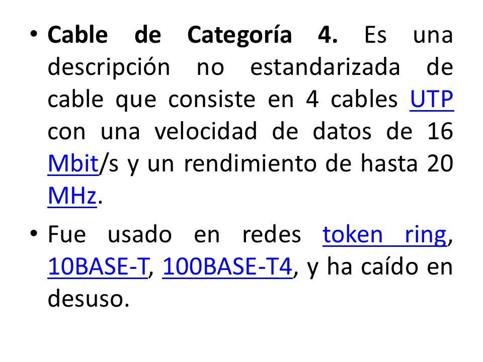 Cable de Categoría 4. Es una descripción no estandarizada de cable que consiste en 4 cables UTP con una velocidad de datos de 16 Mbit/s y un rendimien