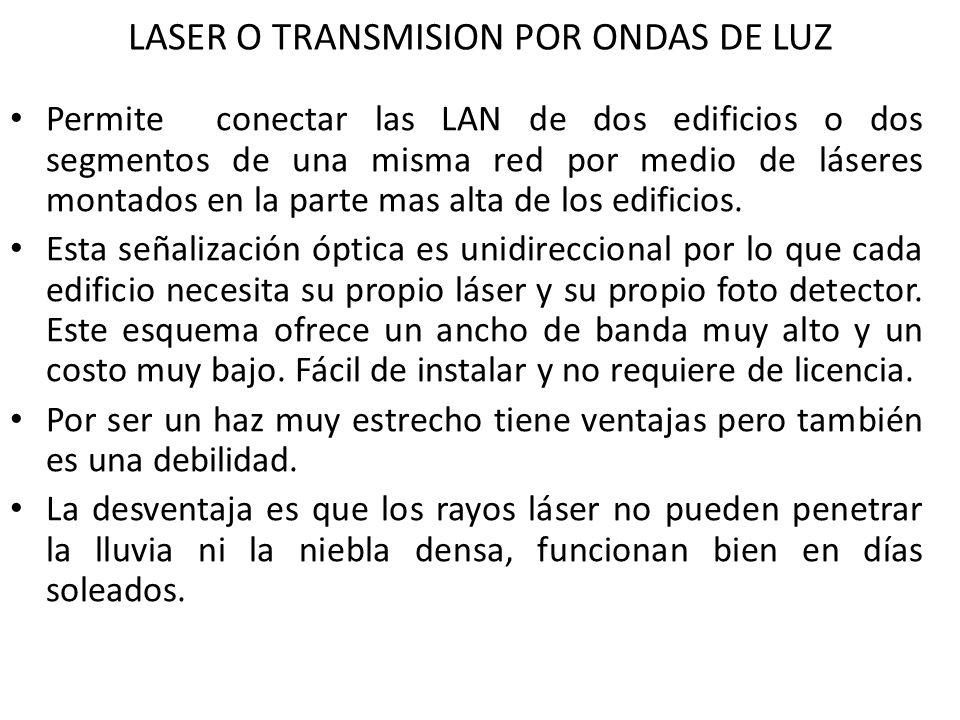 LASER O TRANSMISION POR ONDAS DE LUZ Permite conectar las LAN de dos edificios o dos segmentos de una misma red por medio de láseres montados en la pa