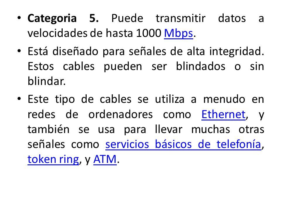Categoria 5. Puede transmitir datos a velocidades de hasta 1000 Mbps.Mbps Está diseñado para señales de alta integridad. Estos cables pueden ser blind