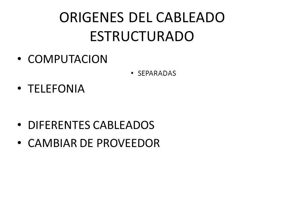 ORIGENES DEL CABLEADO ESTRUCTURADO COMPUTACION SEPARADAS TELEFONIA DIFERENTES CABLEADOS CAMBIAR DE PROVEEDOR