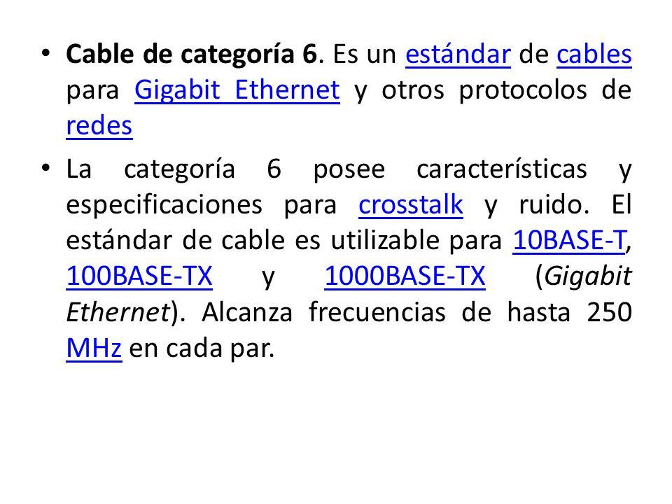 Cable de categoría 6. Es un estándar de cables para Gigabit Ethernet y otros protocolos de redesestándarcablesGigabit Ethernet redes La categoría 6 po