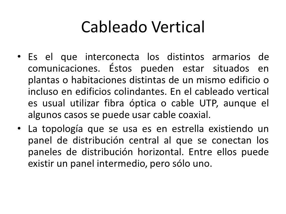 Cableado Vertical Es el que interconecta los distintos armarios de comunicaciones. Éstos pueden estar situados en plantas o habitaciones distintas de