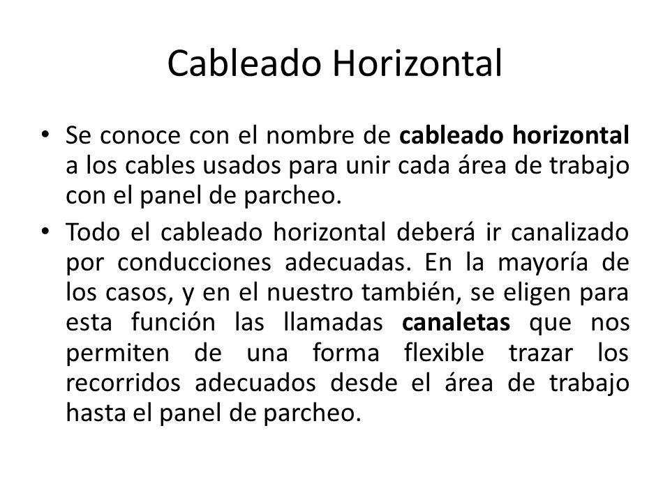 Cableado Horizontal Se conoce con el nombre de cableado horizontal a los cables usados para unir cada área de trabajo con el panel de parcheo. Todo el