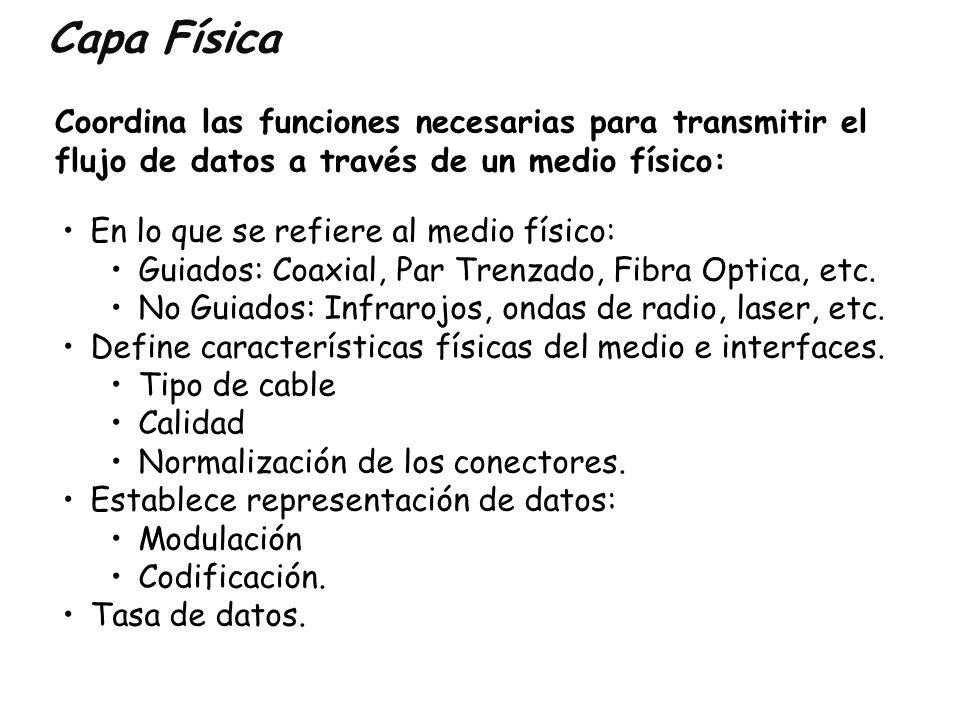 Capa Física Coordina las funciones necesarias para transmitir el flujo de datos a través de un medio físico: En lo que se refiere al medio físico: Gui