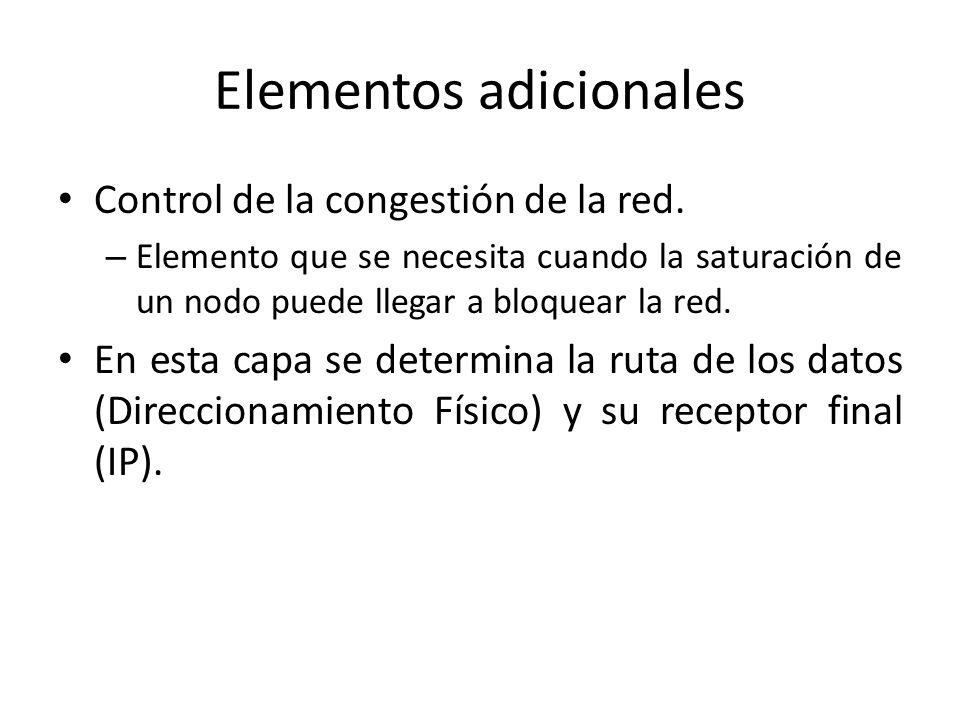 Elementos adicionales Control de la congestión de la red. – Elemento que se necesita cuando la saturación de un nodo puede llegar a bloquear la red. E
