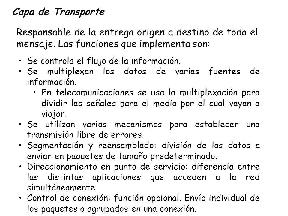 Capa de Transporte Responsable de la entrega origen a destino de todo el mensaje. Las funciones que implementa son: Se controla el flujo de la informa