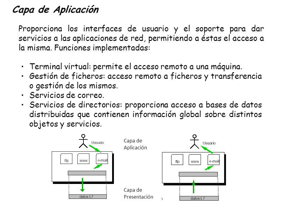 Capa de Aplicación Proporciona los interfaces de usuario y el soporte para dar servicios a las aplicaciones de red, permitiendo a éstas el acceso a la