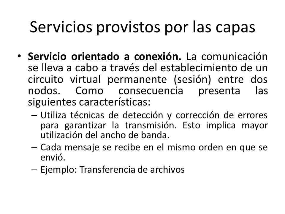 Servicios provistos por las capas Servicio orientado a conexión. La comunicación se lleva a cabo a través del establecimiento de un circuito virtual p