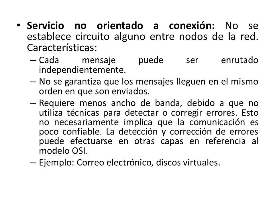Servicio no orientado a conexión: No se establece circuito alguno entre nodos de la red. Características: – Cada mensaje puede ser enrutado independie